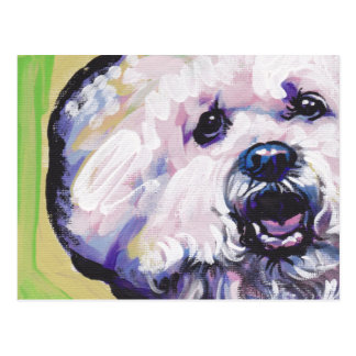 Bichon Frise Bright Colorful Pop Dog Art Postcard