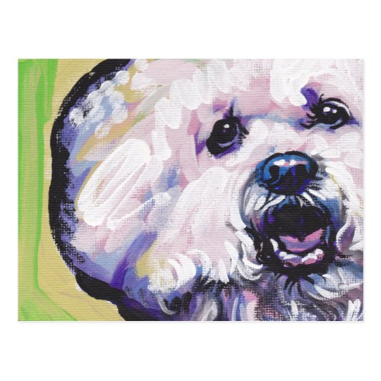 Bichon Frise Bright Colourful Pop Dog Art Postcard