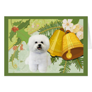 Bichon Frise Christmas Card Bells