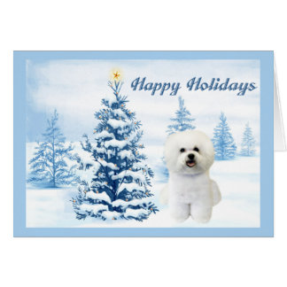 Bichon Frise Christmas Card Blue Tree