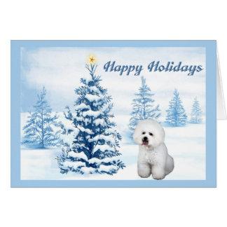 Bichon Frise Christmas Card Blue Tree