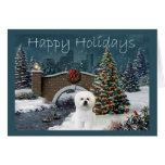 Bichon Frise Christmas Card Evening