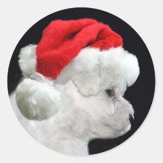 Bichon Frise Christmas Classic Round Sticker