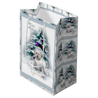 Bichon Frise Christmas Medium Gift Bag