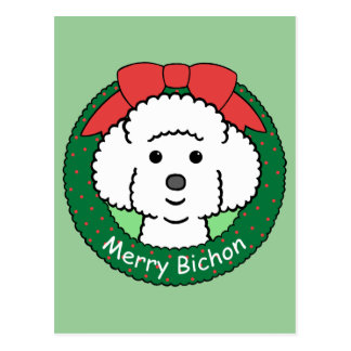 Bichon Frise Christmas Post Cards