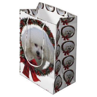 Bichon Frise Christmas Wreath Medium Gift Bag