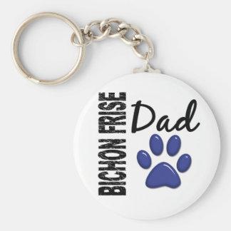 Bichon Frise Dad 2 Basic Round Button Key Ring