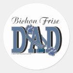 Bichon Frise DAD Round Stickers