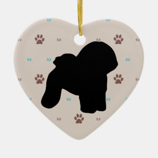 Bichon Frise Double-Sided Heart Ceramic Christmas Ornament