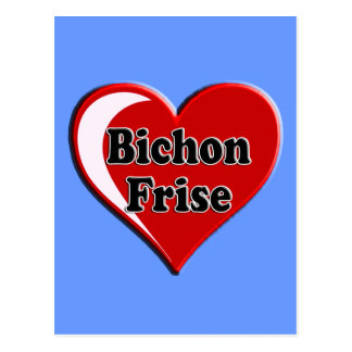 Bichon Frise Dog on Heart for dog lovers Post Card
