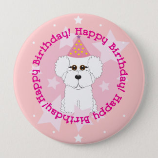 Bichon Frise Happy Birthday Button