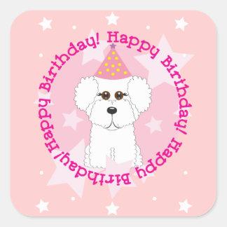Bichon Frise Happy Birthday Stickers