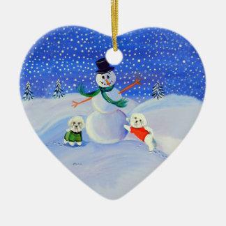 Bichon Frise Heart Ornament