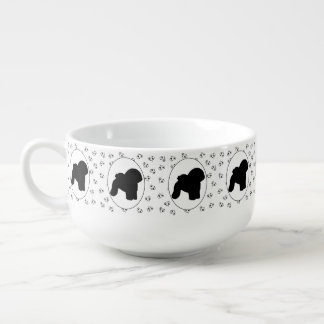 Bichon Frise Hearts and Pawprints Soup Bowl With Handle