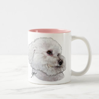 Bichon Frise in Deep Thought Two-Tone Coffee Mug