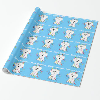 Bichon Frise Lights Christmas Wrapping Paper