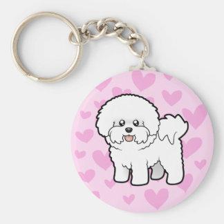 Bichon Frise Love Basic Round Button Key Ring