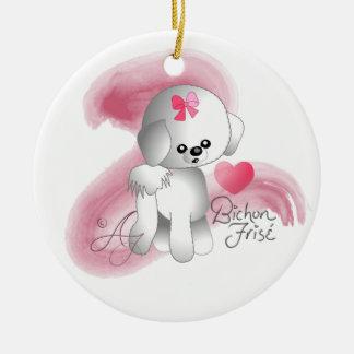 Bichon Frise Love Puppy Dog Round Ceramic Decoration