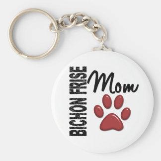 Bichon Frise Mom 2 Basic Round Button Key Ring