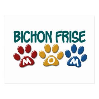 BICHON FRISE MOM Paw Print Postcard
