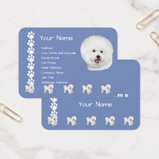 Bichon Frise on Country Blue with Pawprints Business Card