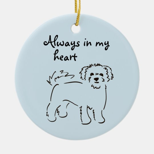 Bichon Frise Personalised Pet Memory Round Ceramic Decoration