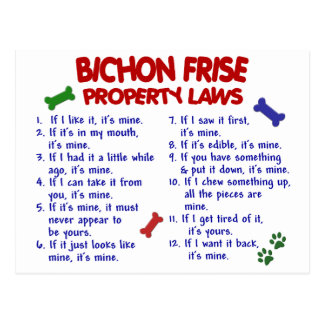 BICHON FRISE Property Laws 2 Post Cards