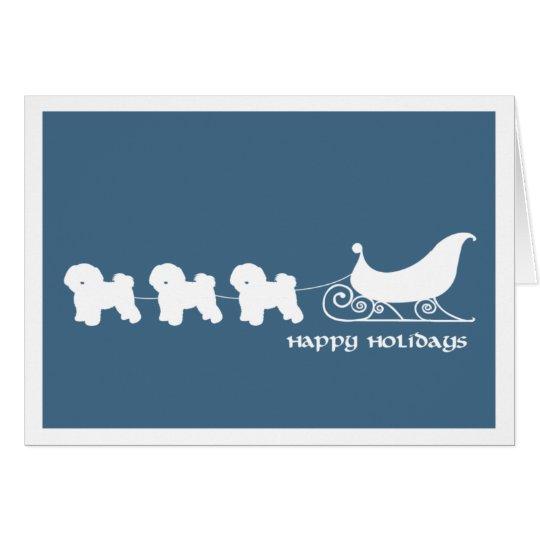 Bichon Frise Pulling Santa's Sleigh Card