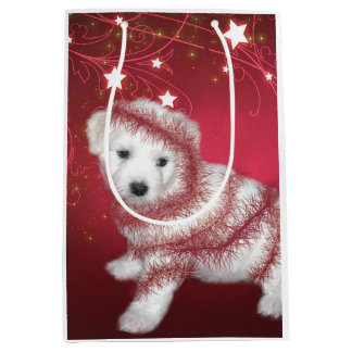 Bichon Frise Puppy Christmas Medium Gift Bag