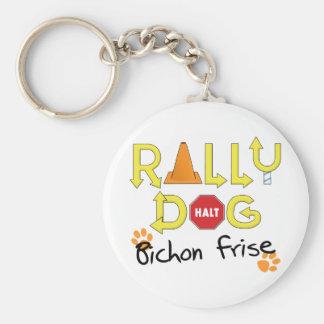 Bichon Frise Rally Dog Basic Round Button Key Ring