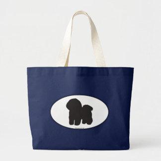 Bichon Frise Silhouette Large Tote Bag