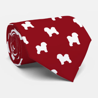 Bichon Frise Silhouettes Pattern Red Tie