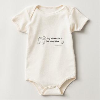 bichon frise sister baby bodysuit