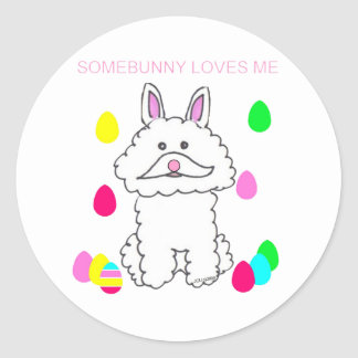 Bichon Frise Somebunny Loves Me Classic Round Sticker