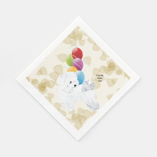 Bichon Frise Tan Leaves and Balloons Disposable Serviette