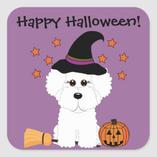 Bichon Frise Witch Customizable Halloween Stickers