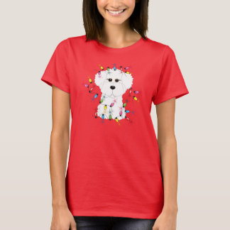 Bichon Frise with Christmas Lights T-Shirt