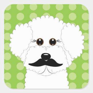 Bichon Frise with Mustache Square Sticker