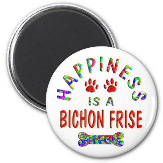 Bichon Happiness 6 Cm Round Magnet
