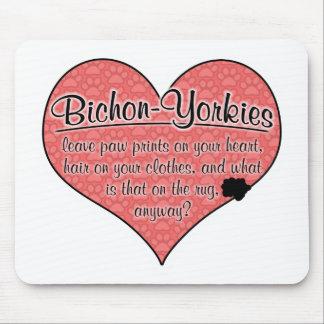 Bichon-Yorkie Paw Prints Dog Humor Mouse Pad