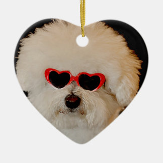 Bichons are Angels Ceramic Heart Decoration