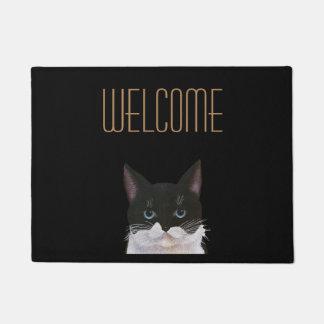 Bicolor, black and white welcome cat doormat