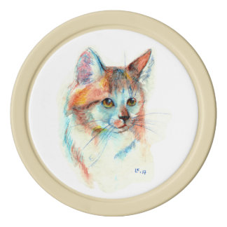Bicolor cat portrait poker chip set