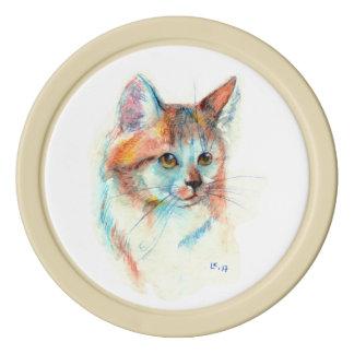 Bicolor cat portrait poker chips