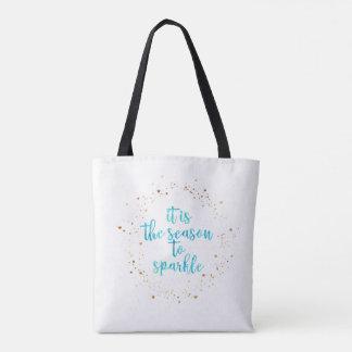 "Bicolor Tote Bag ""It's Season to Sparkle"""