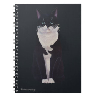 Bicolor vintage black and white cat spiral notebook