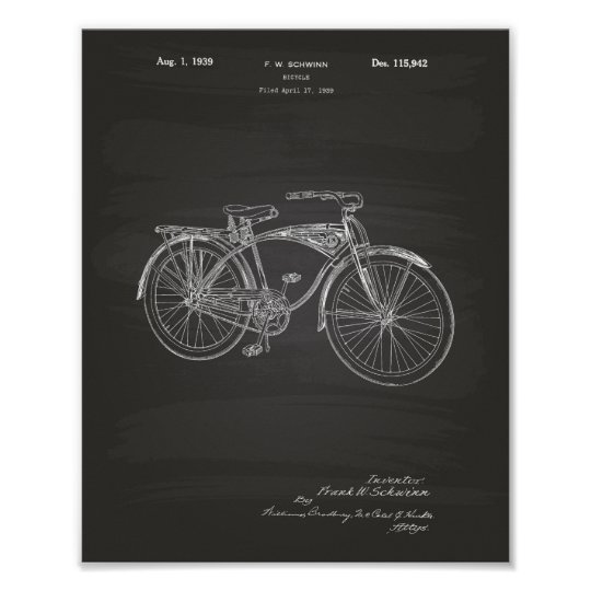 Bicycle 1939 Patent Art Chalkboard Poster