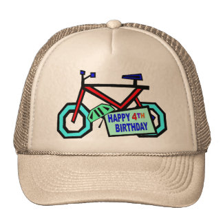 Bicycle 4th Birthday Gifts Trucker Hat