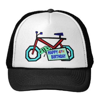 Bicycle 4th Birthday Gifts Cap