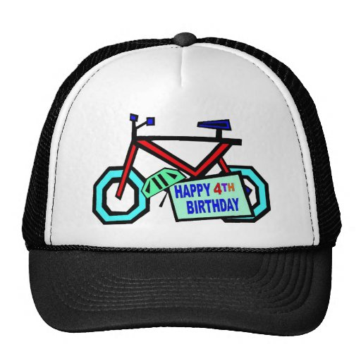 Bicycle 4th Birthday Gifts Mesh Hats